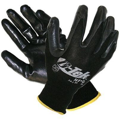 G-Tek black NBR Nitrile palm & fingers on black knit nylon liner