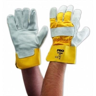 Yellow Grey Leather Glove