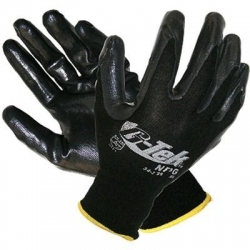 G-Tek black NBR Nitrile palm & fingers on black knit nylon liner