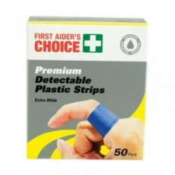 Detectable Wide Plastic Strips 25X75MM 50pk