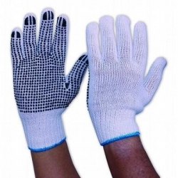 Knitted Poly/Cotton Polka Dot Glove Mens