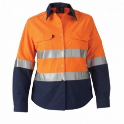 King Gee 44532 Womens reflective spliced drill shirt Orange/Navy