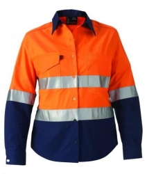 King Gee 44544 Womens Spliced reflective workcool shirt Orange/Navy
