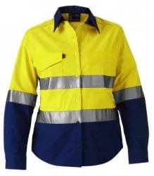 King Gee 44544 Womens Spliced reflective workcool shirt Yellow/Navy