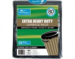 Heavy Duty 80lt Black Bin Liners 200pk