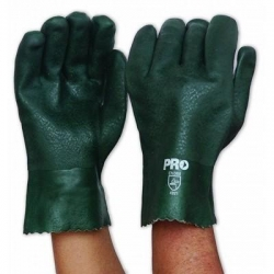 Green PVC Glove Double Dipped 27cm