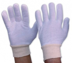 Ladies Interlock Poly/Cotton Liner Glove With Knitted Wrist