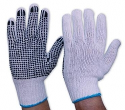 Knitted Poly/Cotton Gloves With Dots