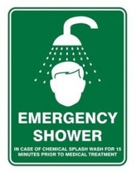 Emergency Shower Sign 450mm x 300mm Poly