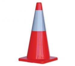 Orange Hi-Vis Traffic Cone With Reflective Band 700mm