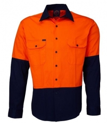 Ritemate RM1050 Orange/Navy 2 tone open front long sleeve shirt