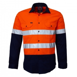 Ritemate RM1050R 2 tone open front long sleeve shirt with reflective tape