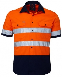 Ritemate RM1050RS 2 Tone Reflective Open Front Short Sleeve Shirt