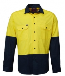 Ritemate RM1050 Yellow/Green 2 tone open front long sleeve shirt