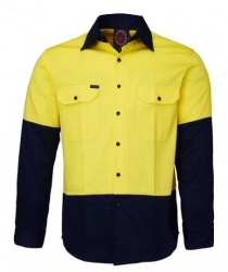 Ritemate RM1050 Yellow/Navy 2 tone open front long sleeve shirt