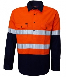 Ritemate RM105CFR closed front 2 tone long sleeve shirt with reflective tape