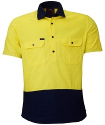Ritemate RM105CFS closed front 2 tone short sleeve shirt