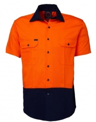 Ritemate RM107V2S Vented 2 tone open front short sleeve shirt