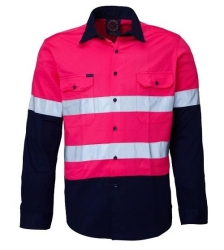 Ritemate RM4050R Childrens 2 tone open front long sleeve reflective shirt