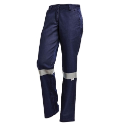 Ladies Trouser Drill Reflective Navy