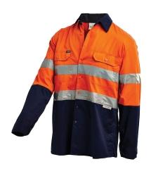 Long Sleeve Reflective Shirt Vented  Orange/Navy