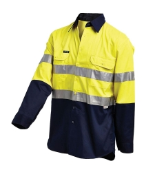 Long Sleeve Reflective Shirt Vented Yellow/Navy