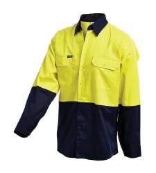 Long Sleeve Hi Vis Shirt Cotton Drill Shirt with Reflective Tape