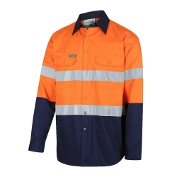 Long Sleeve Drill Shirt 190gsm with Reflective Tape
